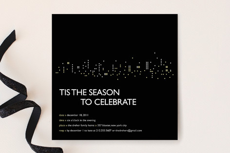 Night Lights Holiday Party Invitations
