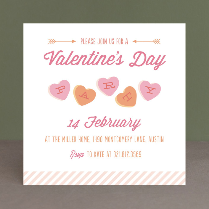 """""""Conversation Heart Valentine"""" - Whimsical & Funny Holiday Party Invitations in Marshmallow by Sarah Curry."""