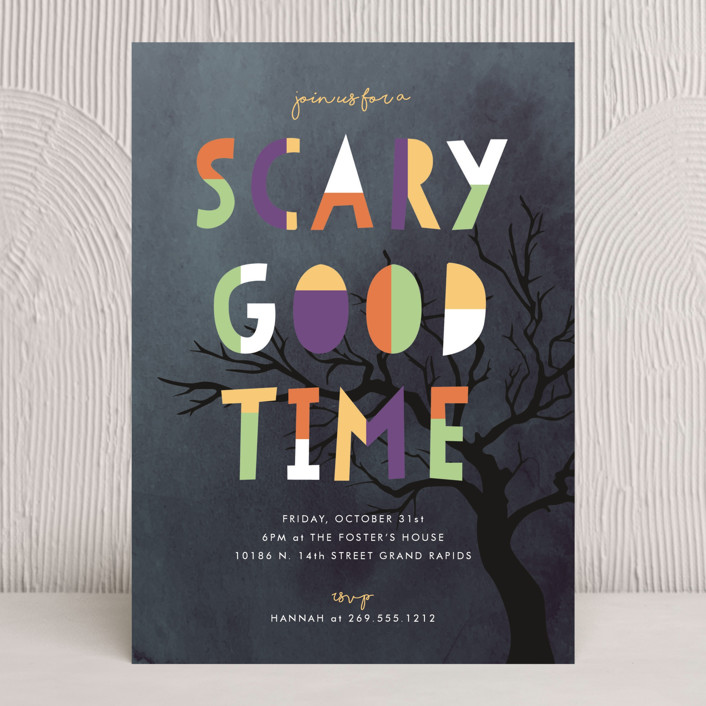 """""""A Scary Good Time"""" - Holiday Party Invitations in Pine by Pixel and Hank."""