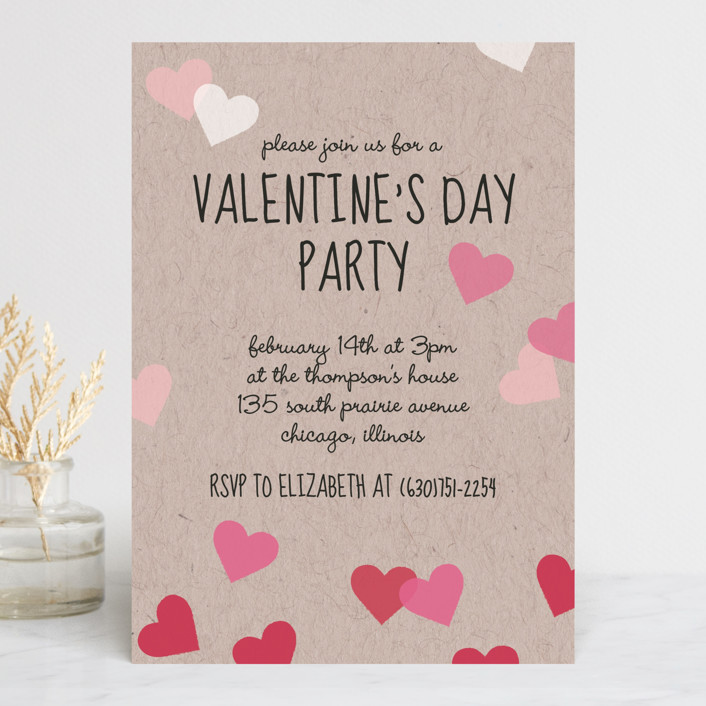 """Valentine's Ombre Love"" - Modern Holiday Party Invitations in Kraft by Becca Thongkham."