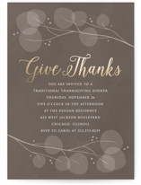 This is a grey holiday party invitation by Erin Deegan called Paper Leaves printing on signature.