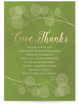 This is a green holiday party invitation by Erin Deegan called Paper Leaves printing on signature.
