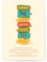 This is a orange holiday party invitation by Lisa Cersovsky called Turkey Day Menu printing on signature.
