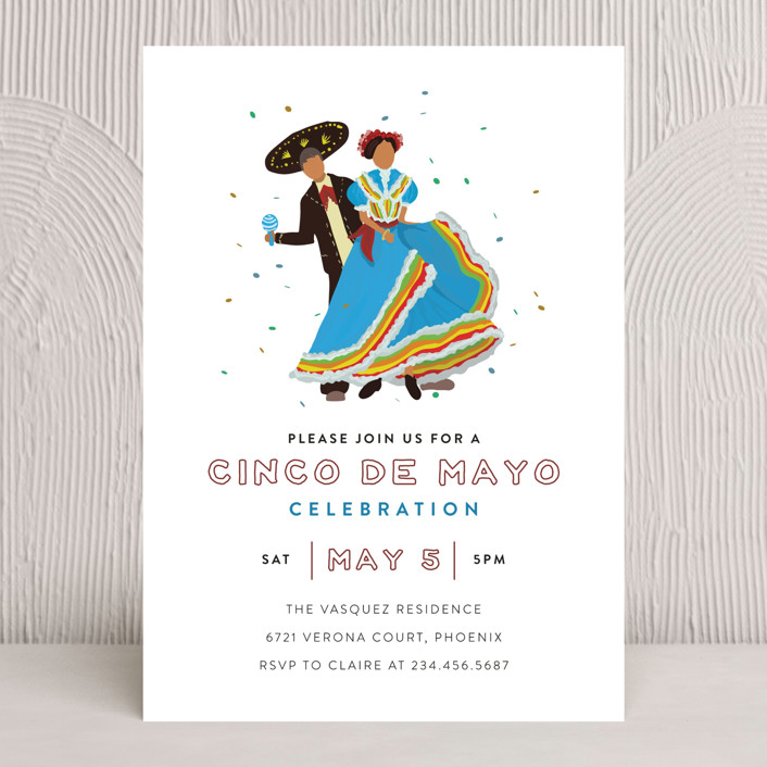 """Merry May"" - Holiday Party Invitations in Azul by Grae Sales."