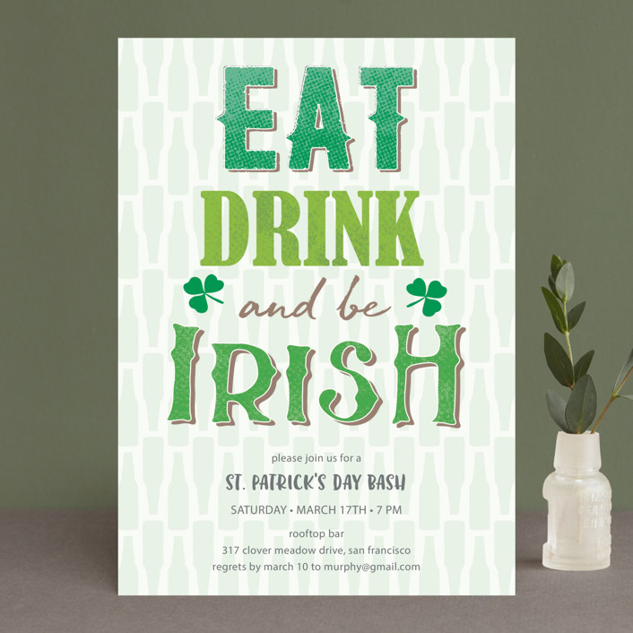 """""""Eat, drink and be Irish St. Patrick's Day Invitation"""" - Holiday Party Invitations in Shamrock by Kann Orasie."""