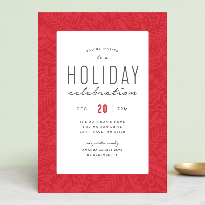 """Winter Celebration"" - Holiday Party Invitations in Cherry by Michelle Taylor."