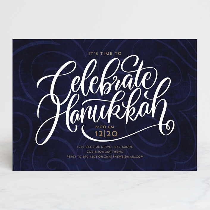 """""""The Big Year"""" - Holiday Party Invitations in Midnight by Laura Bolter Design."""