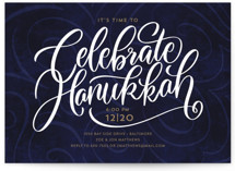 This is a blue holiday party invitation by Laura Bolter Design called The Big Year printing on signature.