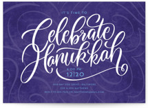 This is a purple holiday party invitation by Laura Bolter Design called The Big Year printing on signature.