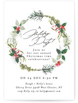 This is a green holiday party invitation by Phrosne Ras called fresh wreath printing on signature.