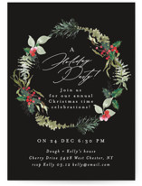 This is a black holiday party invitation by Phrosne Ras called fresh wreath printing on signature.