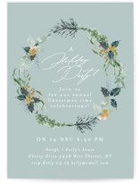 This is a blue holiday party invitation by Phrosne Ras called fresh wreath printing on signature.