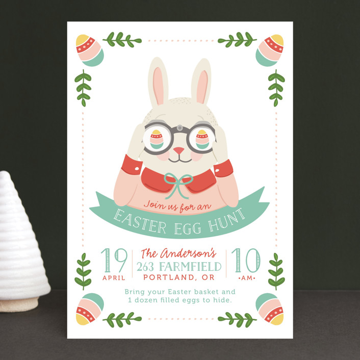 """""""Egg Hunt"""" - Holiday Party Invitations in Tomato by Melissa Egan of Pistols."""