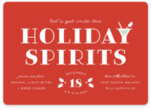 This is a orange holiday party invitation by Laura Hankins called Holiday Spirits printing on signature.