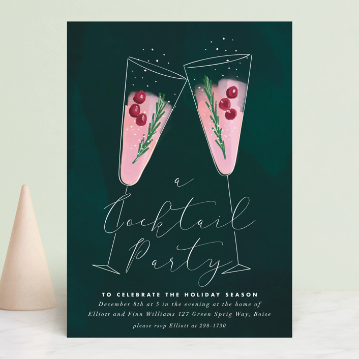 """""""a holiday toast"""" - Holiday Party Invitations in Deep Sea by Rebecca Durflinger."""