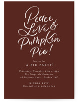This is a brown holiday party invitation by Jackie Crawford called Hand letter Pumpkin Pie with standard printing on signature in standard.