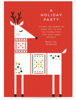 This is a orange holiday party invitation by Genna Blackburn called Rainbow Reindeer printing on signature.