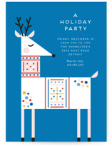 This is a blue holiday party invitation by Genna Blackburn called Rainbow Reindeer printing on signature.