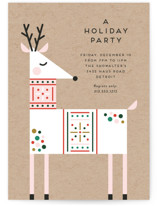 This is a brown holiday party invitation by Genna Blackburn called Rainbow Reindeer printing on signature.