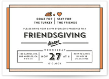 This is a orange holiday party invitation by Aspacia Kusulas called Friendsgiving printing on signature.
