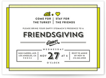 This is a green holiday party invitation by Aspacia Kusulas called Friendsgiving printing on signature.