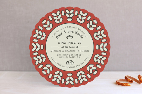 Geo Wreath Holiday Party Invitations