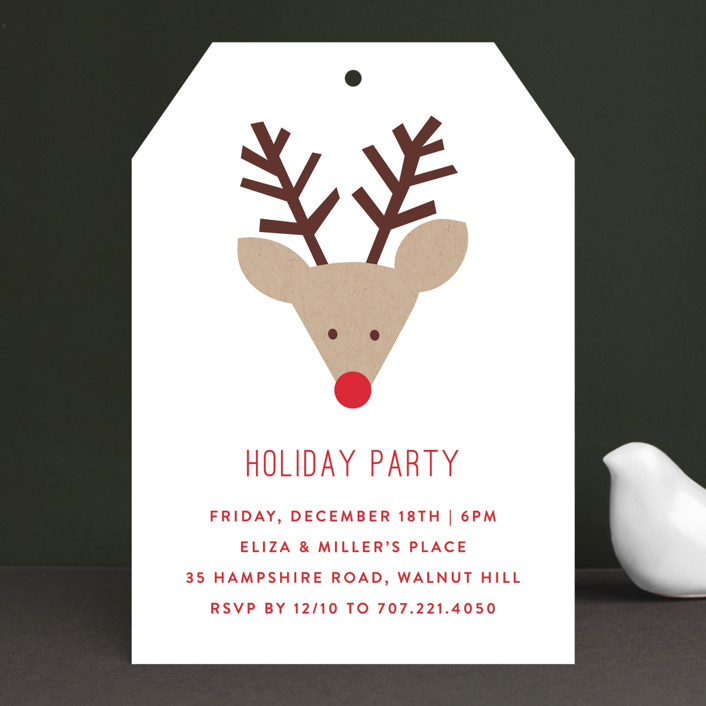 """""""Red Nose Party"""" - Simple Holiday Party Invitations in Snow by Michelle Poe."""