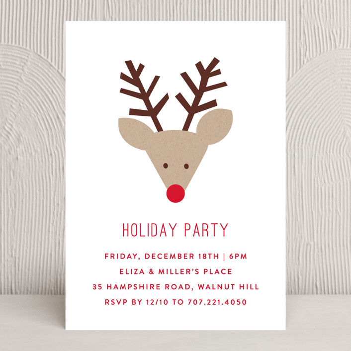 """Red Nose Party"" - Simple Holiday Party Invitations in Snow by Michelle Poe."