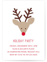 This is a white holiday party invitation by Michelle Poe called Red Nose Party printing on signature.