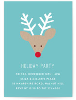 This is a blue holiday party invitation by Michelle Poe called Red Nose Party printing on signature.