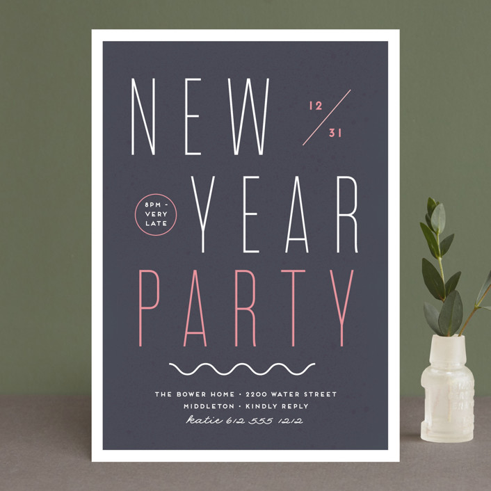 """""""Very Late"""" - Holiday Party Invitations in Navy by Susan Brown."""