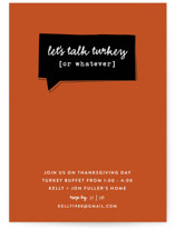 This is a orange holiday party invitation by Susan Brown called Talk Turkey printing on signature.