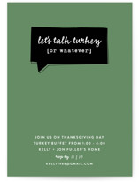 This is a green holiday party invitation by Susan Brown called Talk Turkey printing on signature.