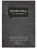 This is a black holiday party invitation by Susan Brown called Talk Turkey printing on signature.