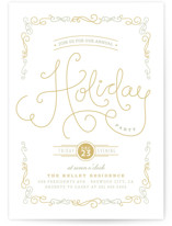 This is a white holiday party invitation by chocomocacino called Chavignon printing on signature.