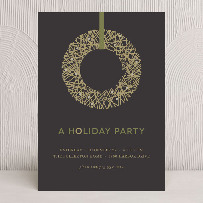 """""""Gold Wreath"""" - Formal Holiday Party Invitations in Ash by Susan Brown."""