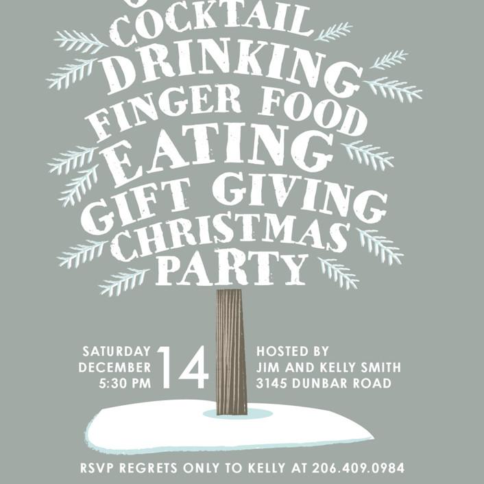 Holly Jolly Tree Holiday Party Invitations