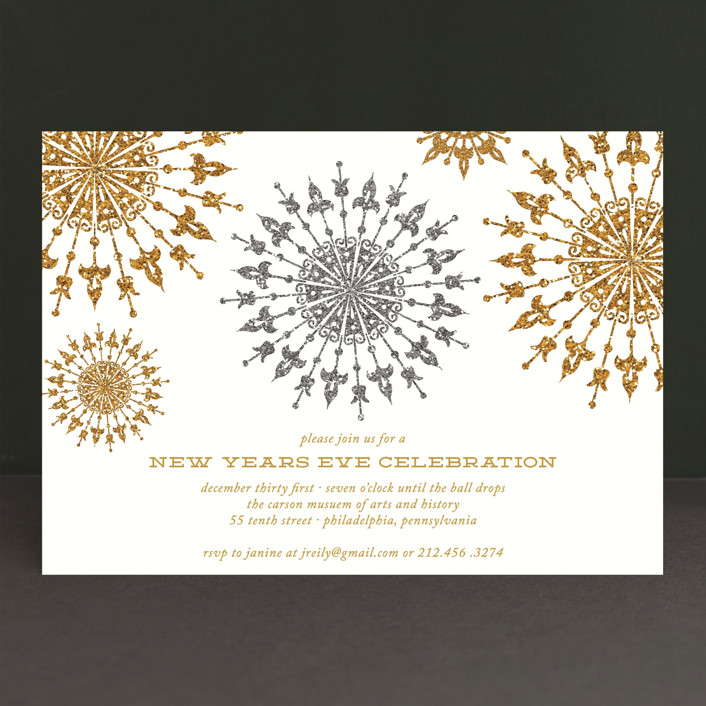 """Revelry"" - Classical, Traditional Holiday Party Invitations in Frost by That Girl Press."