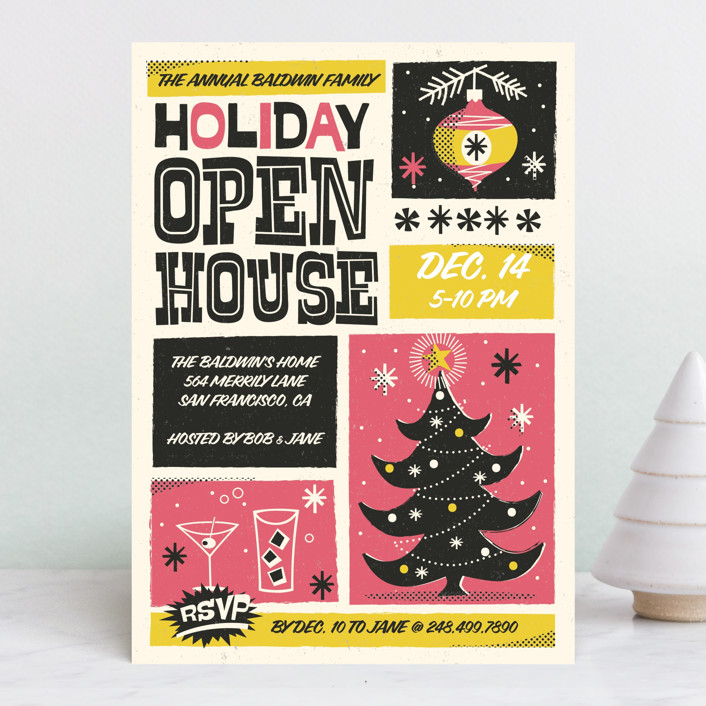 """Retro Swank Poster"" - Vintage, Bold typographic Holiday Party Invitations in Strawberry by Coco and Ellie Design."