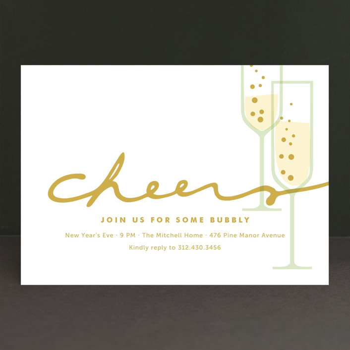 """""""Time for Bubbly"""" - Classical Holiday Party Invitations in Champagne by Oscar & Emma."""