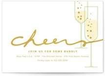 This is a gold holiday party invitation by Oscar & Emma called Time for Bubbly printing on signature.