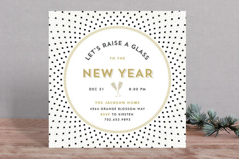 Diamonds & Champagne Glasses Holiday Party Invitations
