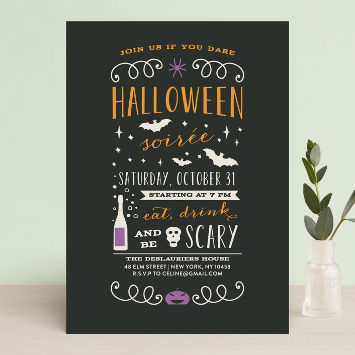 """""""Halloween Soiree"""" - Bold typographic Holiday Party Invitations in Pumpkin by Bonjour Paper."""