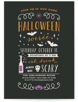 This is a orange holiday party invitation by Bonjour Paper called Halloween Soiree printing on signature.