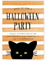 This is a orange holiday party invitation by August and Oak called Striped Cat printing on signature.