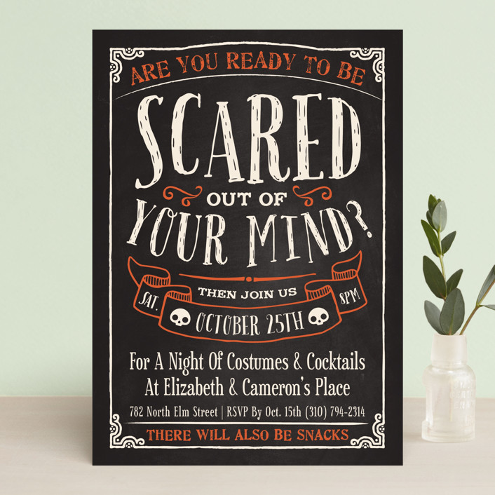 """""""Scary"""" - Bold typographic, Hand Drawn Holiday Party Invitations in Jack-O-Lantern by GeekInk Design."""