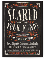 This is a orange holiday party invitation by GeekInk Design called Scary printing on signature.