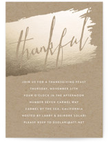 This is a yellow holiday party invitation by Erin Deegan called Thankful On Kraft printing on signature.