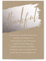 This is a grey holiday party invitation by Erin Deegan called Thankful On Kraft printing on signature.