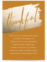 This is a orange holiday party invitation by Erin Deegan called Thankful On Kraft printing on signature.
